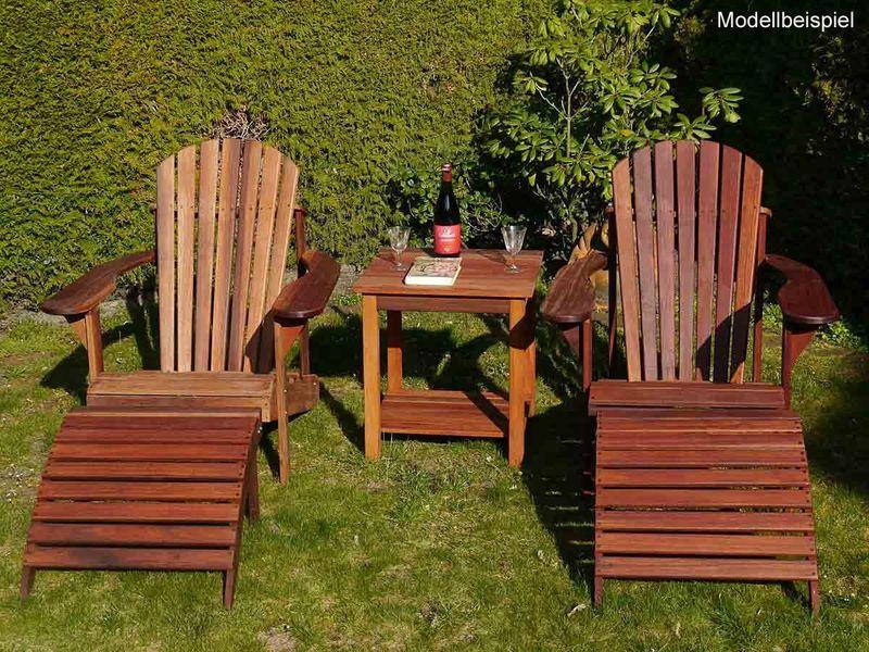 Gartenset Gartenstuhl mit Fußbank Gartenliege Adirondack Mahagoni (5067) – Bild 3