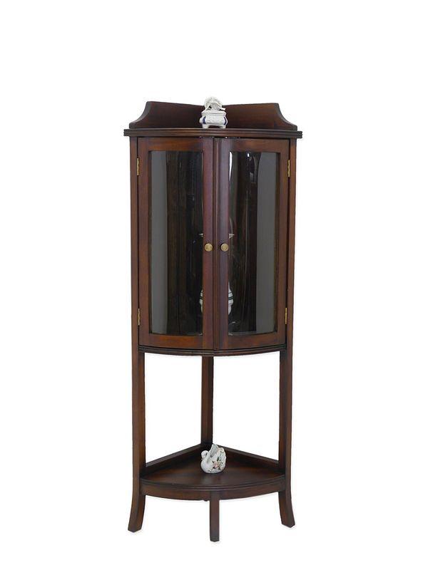 Eckvitrine Vitrine Eckschrank Antik Stil Massivholz Nussbaum H 132 cm (516) – Bild 1