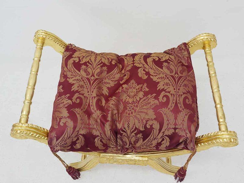 Hocker Fußhocker Sitzhocker Massivholz Antik Stil Barock in gold /rot (5190) – Bild 2