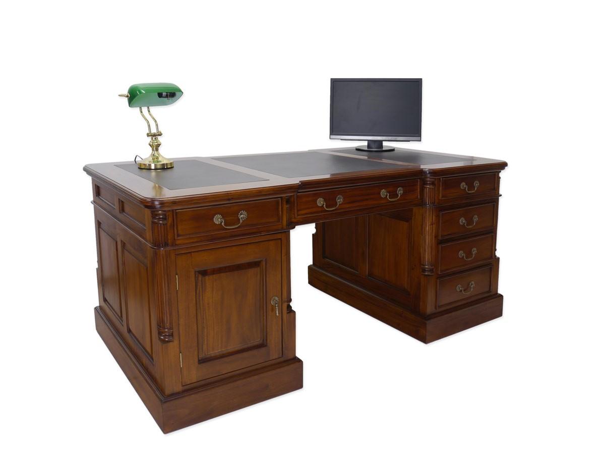 Schreibtisch Partnerdesk Büromöbel Massivholz im Nussbaum-Farbton B ...