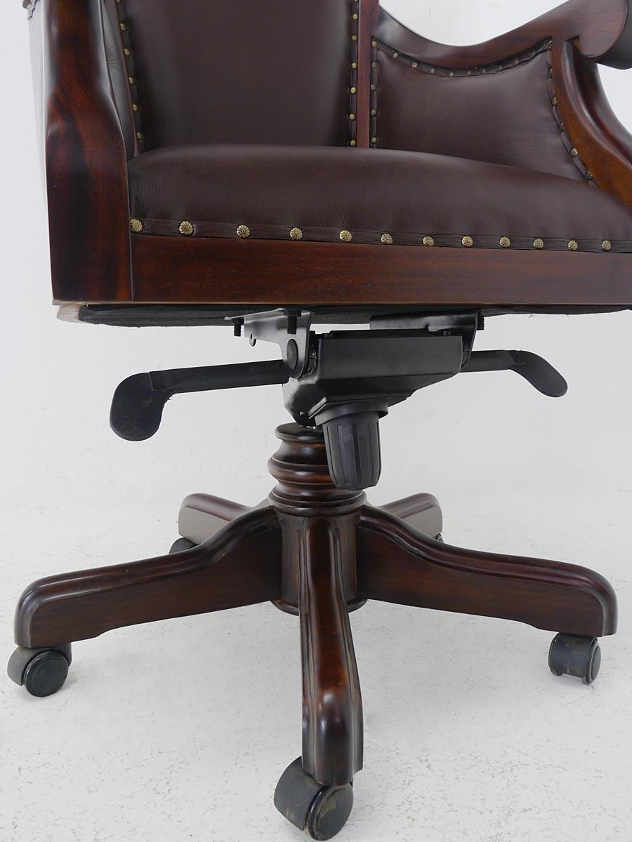 b rostuhl chefsessel b rosessel massivholz nussbaum farbton braunes leder 5222. Black Bedroom Furniture Sets. Home Design Ideas
