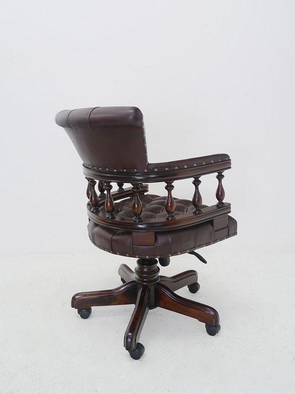 Schreibtischsessel Bürosessel Bürostuhl Sessel Massivholz braunes Leder (5226) – Bild 2