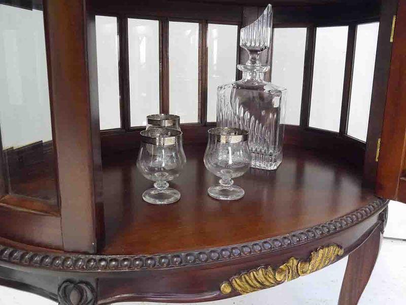 Teeschrank Barschrank Beistelltisch Antik Stil Massivholz Nussbaum/gold (5301) – Bild 3