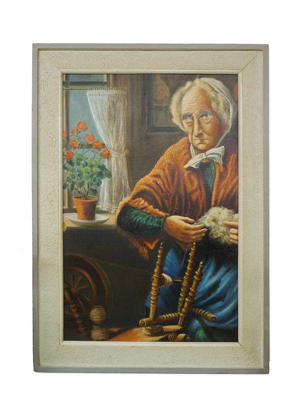 """Bild Ölbild Gemälde Portrait mit Rahmen """"Alte Frau am Spinnrad"""" 122x87x6 (5304) – Bild 1"""