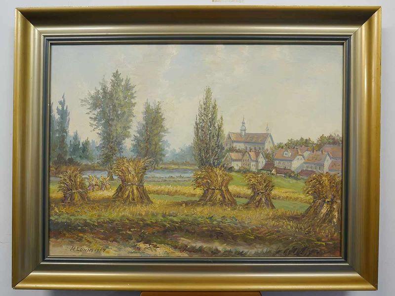 """Bild Ölbild Gemälde Portrait mit Rahmen """"Feld mit Stroh"""" H. Lowin 1957 (5308) – Bild 1"""
