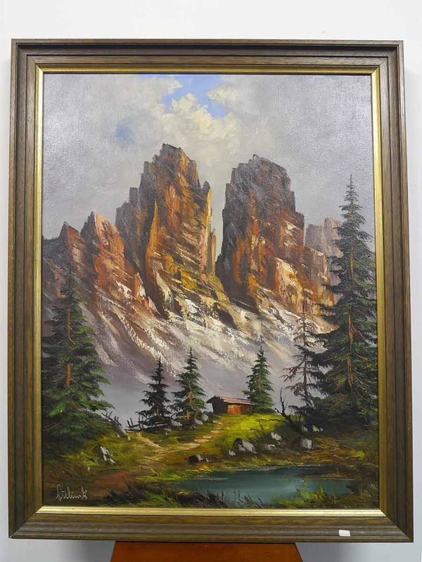 """Bild Ölbild Gemälde Portrait mit Rahmen """"Berglandschaft"""" von Lühing (5312) – Bild 1"""