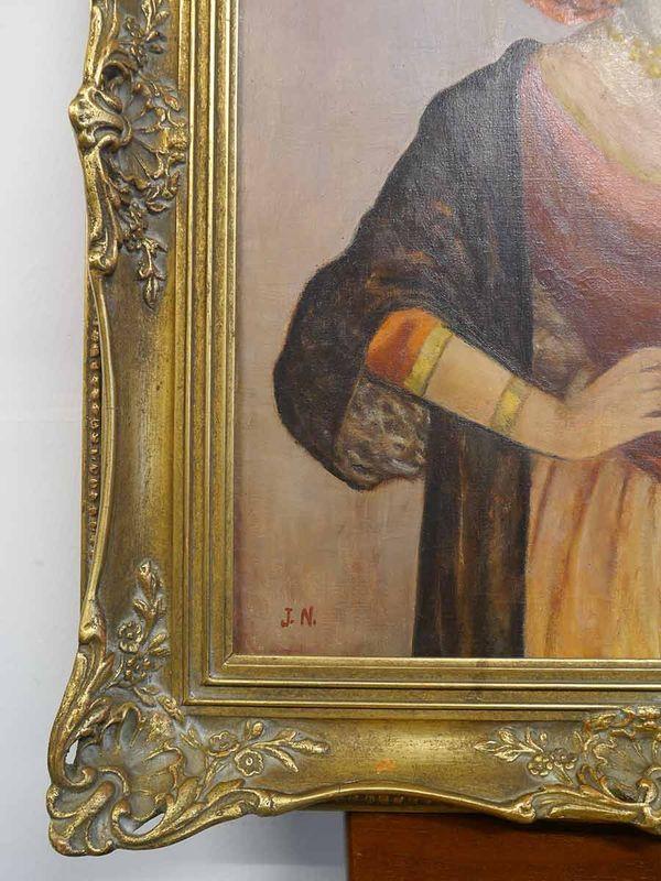 """Bild Ölbild Gemälde Portrait mit Rahmen """"Südländerin"""" mit J. N.  signiert (5353) – Bild 2"""