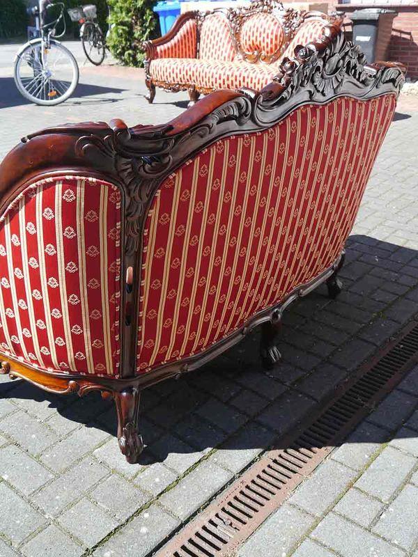 Sofa Couch Königssofa 2-sitzer im Antik Stil Massivholz Nussbaum-Farbton (5381) – Bild 3