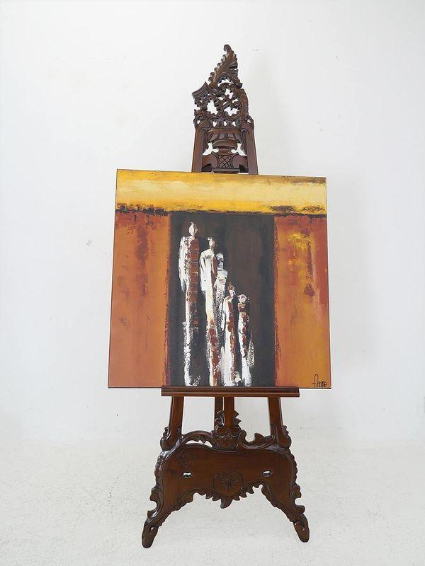 Staffelei Holzstaffelei Künstlerstaffelei Rokoko Stil im Nussbaumfarbton (5404) – Bild 2
