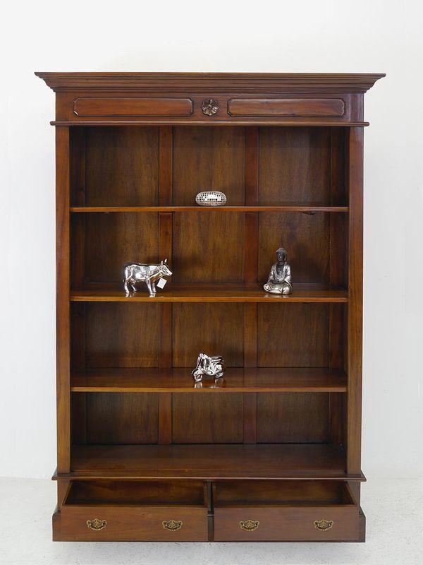 Regal Bücherregal Medienregal mit 2 Schubladen Massivholz antiker Stil (5417) – Bild 2