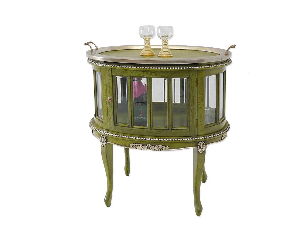 teeschrank barschrank beistelltisch antik stil gr n silber. Black Bedroom Furniture Sets. Home Design Ideas