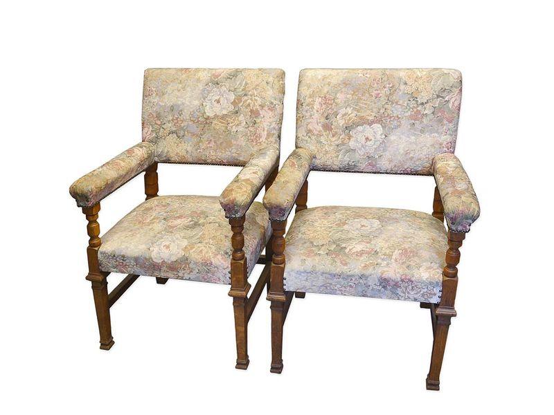 2 Armlehnstühle Stuhl Sessel Stühle Antik um 1900 aus Eiche H 107 cm (5480) – Bild 1