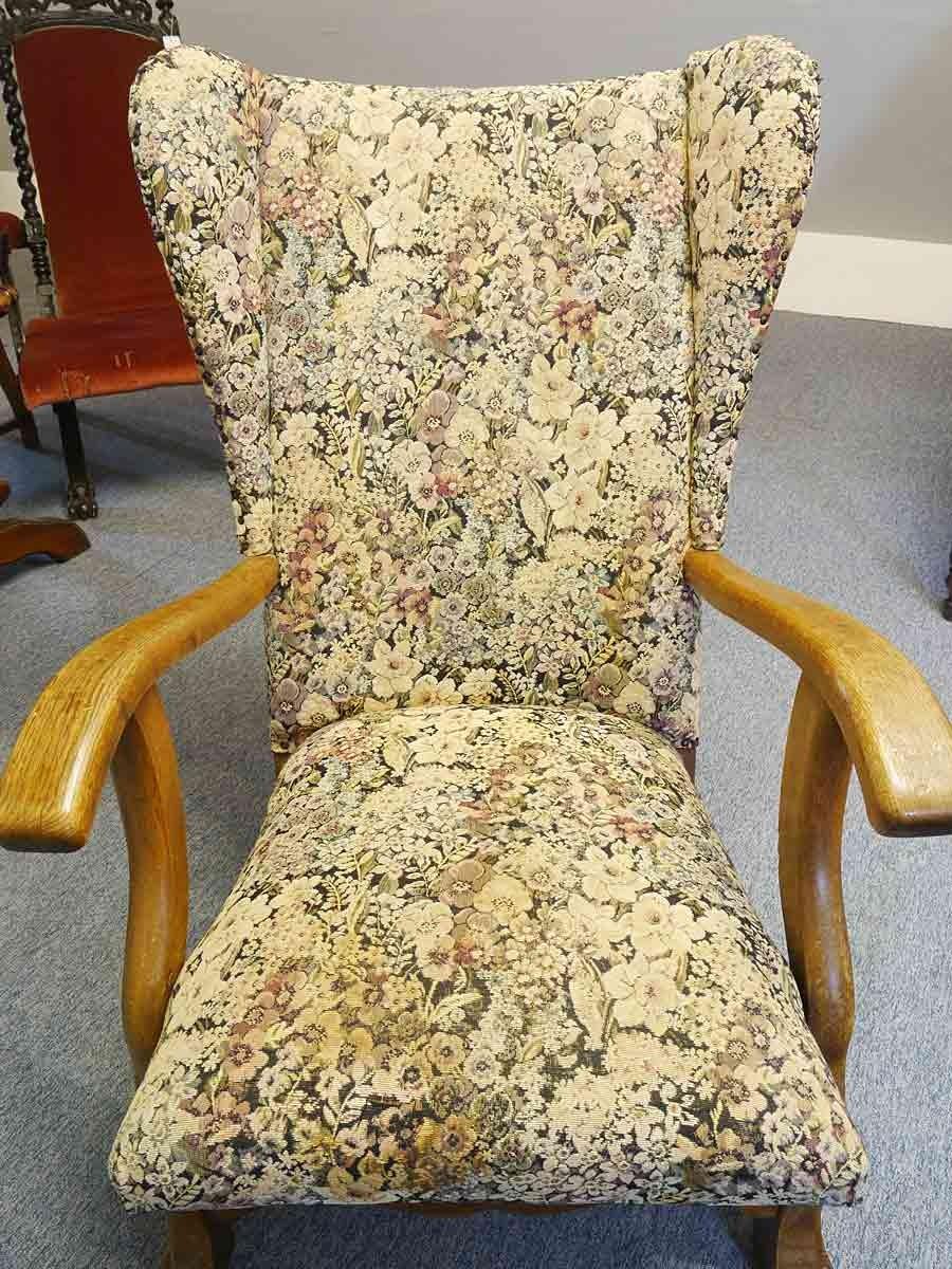 Sessel Ohrensessel Sitzmobel Antik Um 1940 Mit Textilbezug 5488