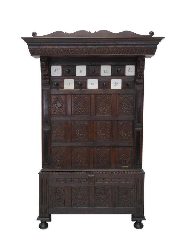 Garderobe Wandgarderobe Flurgarderobe Dielenmöbel Antik um 1880 Eiche (5578) – Bild 1