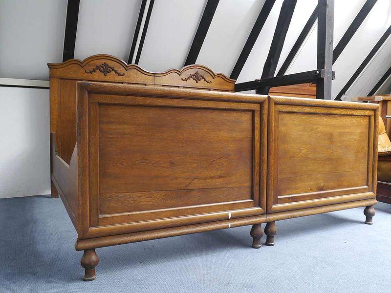 Bett Doppelbett Bettrahmen Bettgestell Antik um 1920 Eiche MM 100x190 cm (5634) – Bild 3