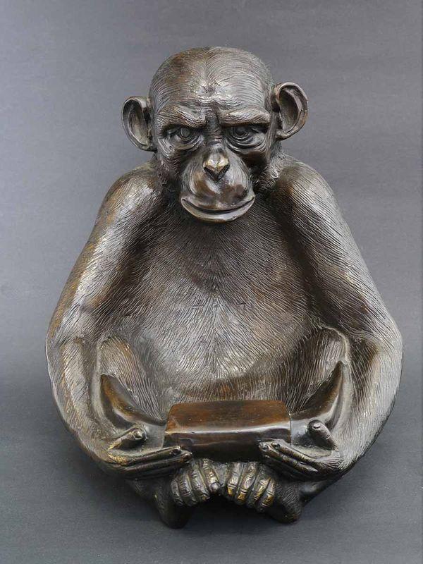 Bronze Figur Skulptur Dekoration Schale sitzender Affe 25x22x23 cm (5711) – Bild 3