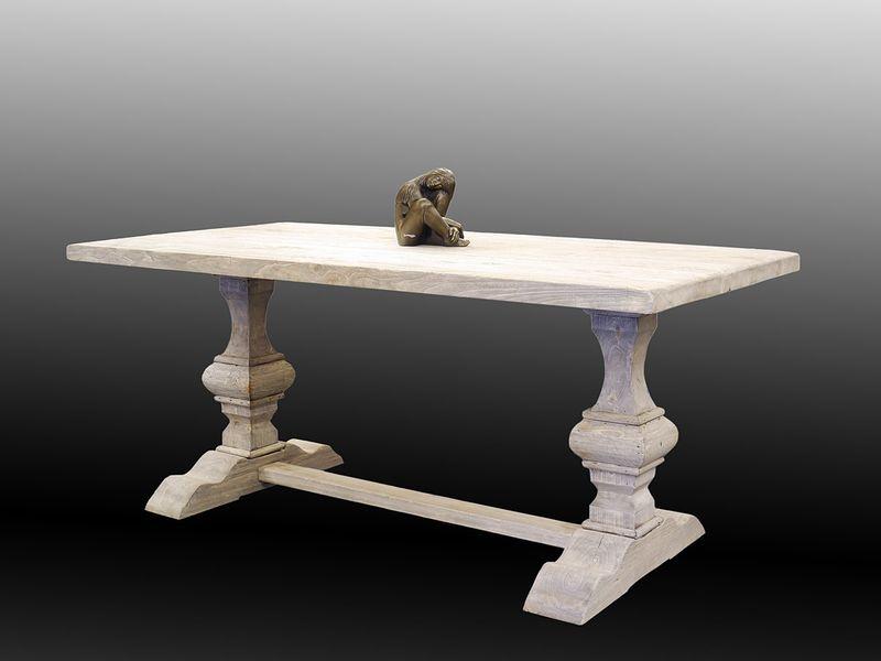 Esstisch Tisch Gesindetisch Klostertisch 77x90x180 cm altes Pappelholz (5728) – Bild 1