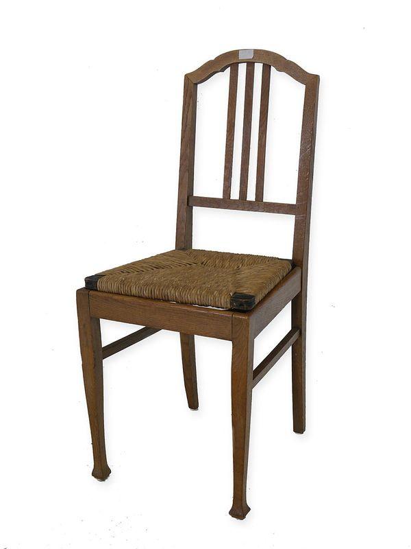 Stuhl Sitzmöbel Lehnstuhl Antik aus Eiche mit Binsengeflecht (5747) – Bild 1