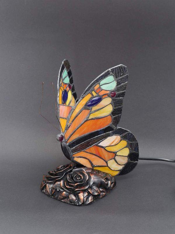Lampe Leuchte Tischlampe Tischleuchte im Tiffany-Stil Schmetterling rot (5763) – Bild 1