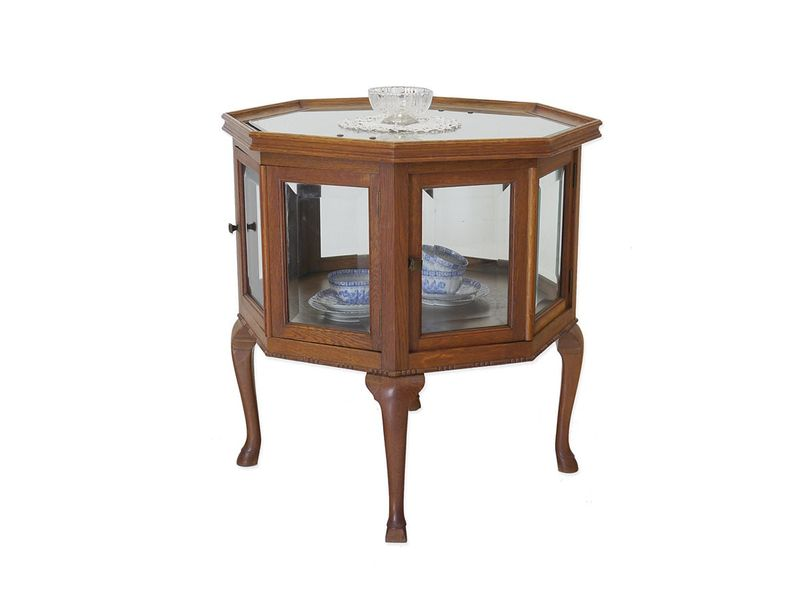 teeschrank beistelltisch barschrank 8 eckig antik um 1920 eiche 76x77x71 5814 schr nke vitrinen. Black Bedroom Furniture Sets. Home Design Ideas