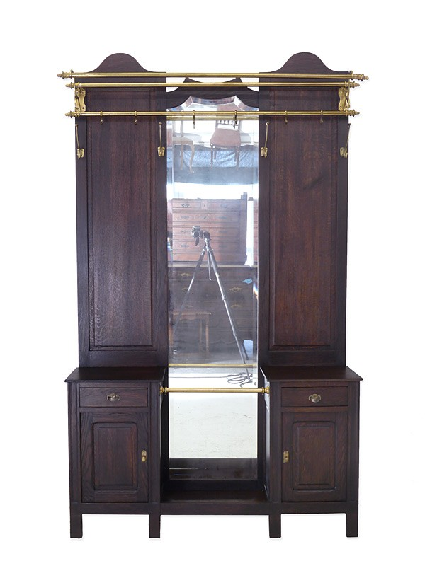 garderobe wandgarderobe flurgarderobe antik um 1930 eiche massiv b 121 cm 5931 garderoben. Black Bedroom Furniture Sets. Home Design Ideas