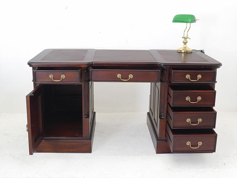 Schreibtisch aus Massivholz mit braunem Leder B: 160 cm – Bild 2