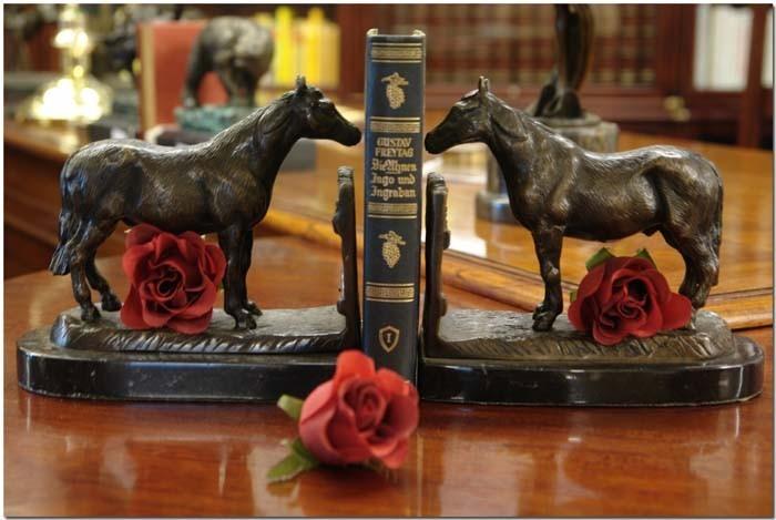 Pferde Buchstützen BRONZE Marmor Figur Skulptur (601) – Bild 3