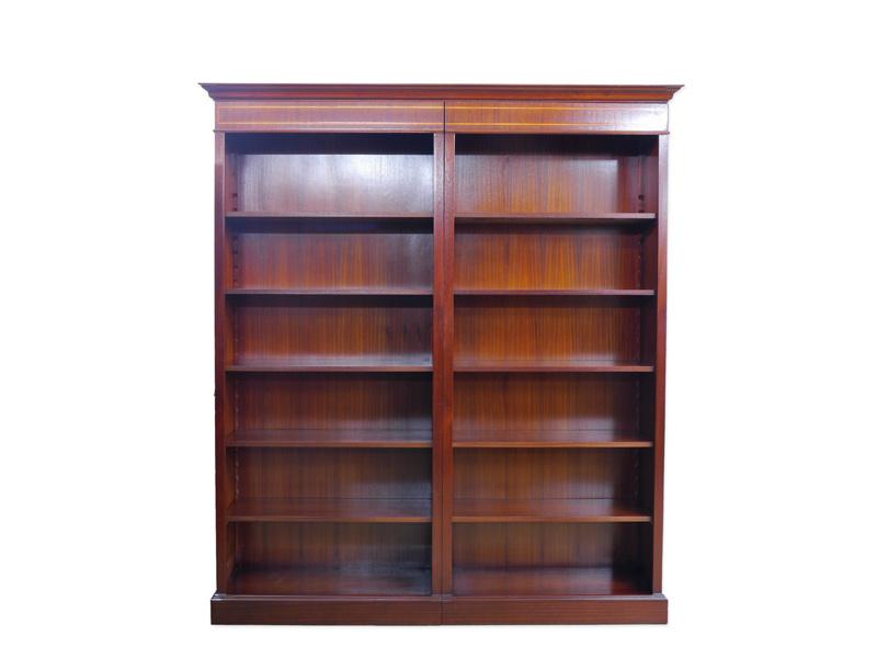 Regal Wandregal Bücherregal im englischen Stil Mahagoni 211x191x41 cm (6100) – Bild 1