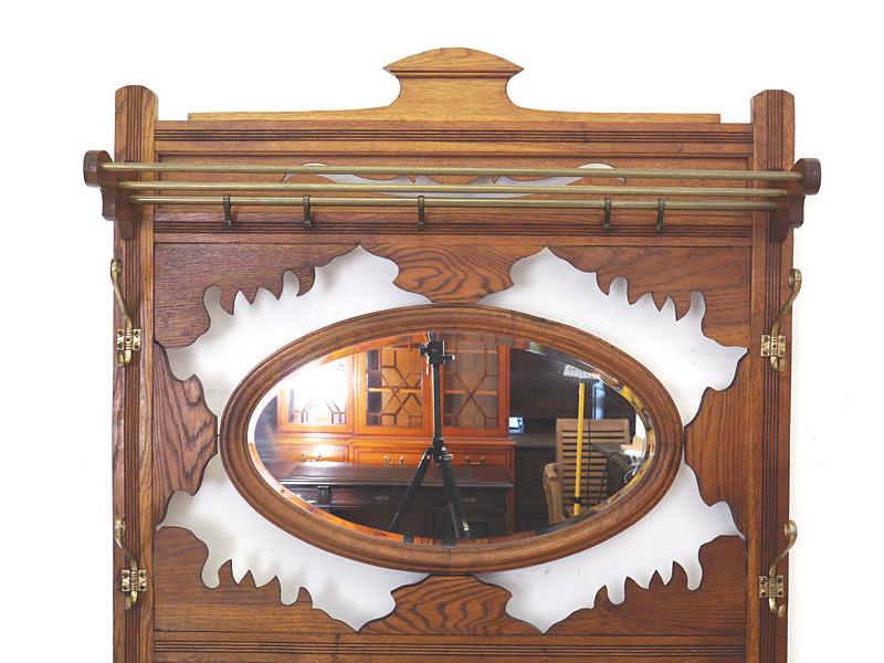Garderobe Wandgarderobe Flurgarderobe Antik um 1910 Eiche 208x110x25 cm (6150) – Bild 4