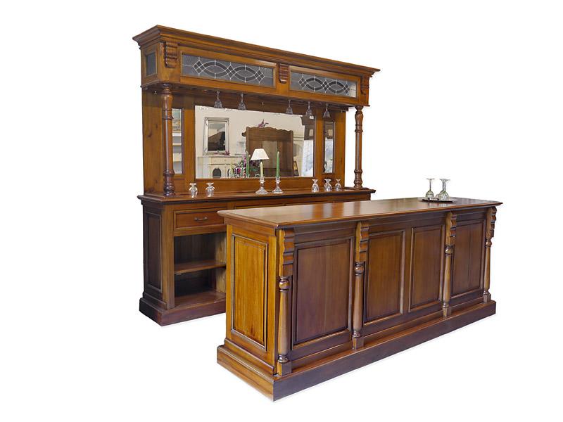 Theke Tresen Bar Hausbar Kellerbar Gastronomie 250x229x6040cm Antik