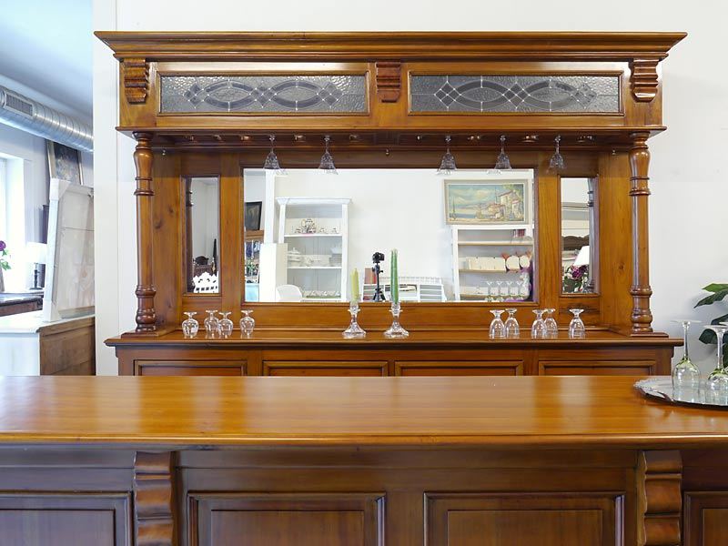 Theke Tresen Bar Hausbar Kellerbar Gastronomie 250x229x60/40cm Antik Stil (6154) – Bild 2