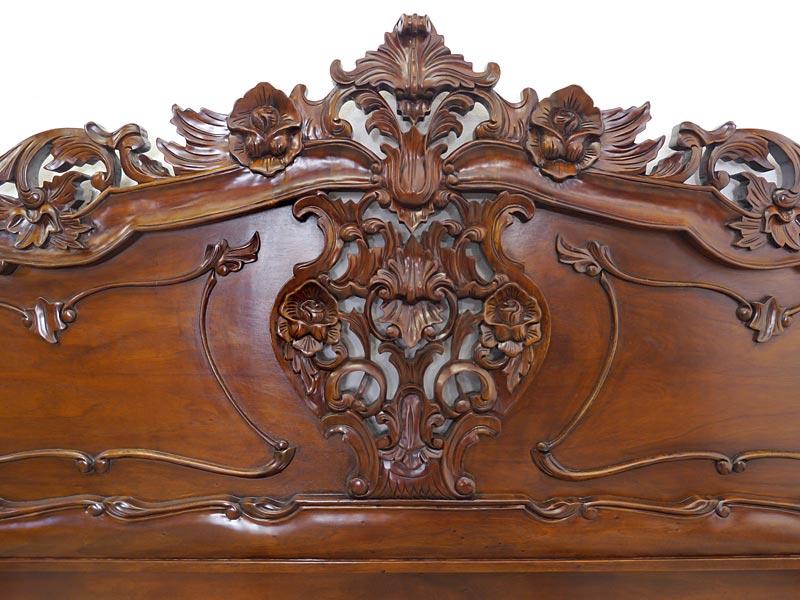 Bett Doppelbett Ehebett Rokoko Stil 200x200cm Massivholz Nussbaum-Farbton (6196) – Bild 5