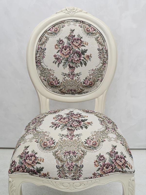 Stuhl Lehnstuhl Polsterstuhl im antiken Stil Massivholz creme-weiß (6301) – Bild 3