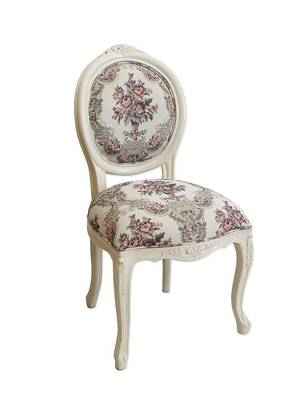 Stuhl Lehnstuhl Polsterstuhl im antiken Stil Massivholz creme-weiß (6301) – Bild 1