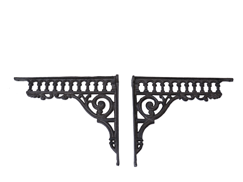 2 Regalwinkel Regalstützen Wandwinkel Antik Stil Gusseisen Bronze T: 28cm (6303) – Bild 1