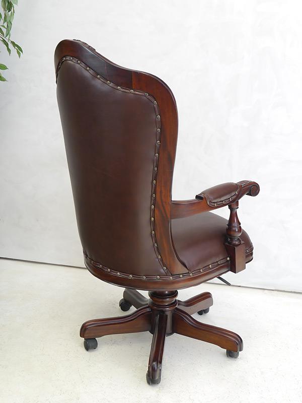 Chefsessel Bürostuhl Bürosessel Massivholz Nussbaum-Farbton braunes Leder (6307) – Bild 4