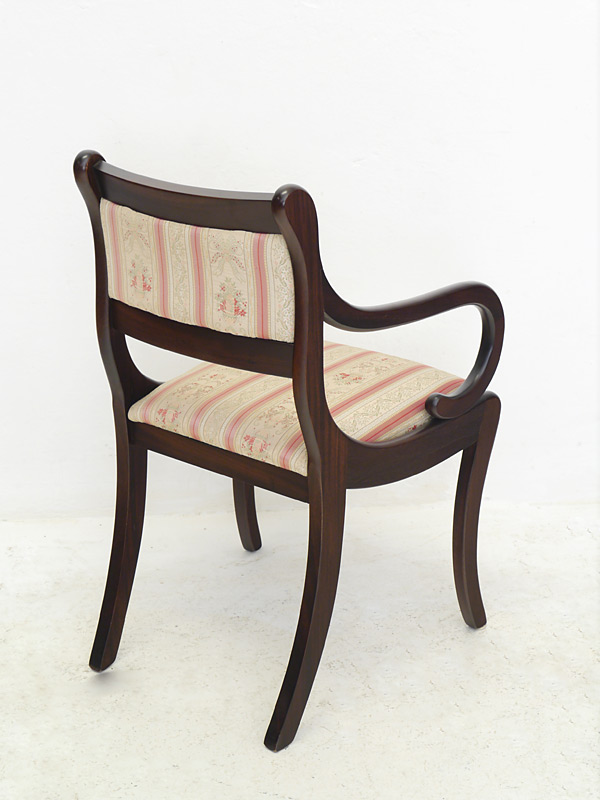 Stuhl Armlehnstuhl Sitzmöbel Mahagoni mit Polsterung im antiken Stil (6312) – Bild 2