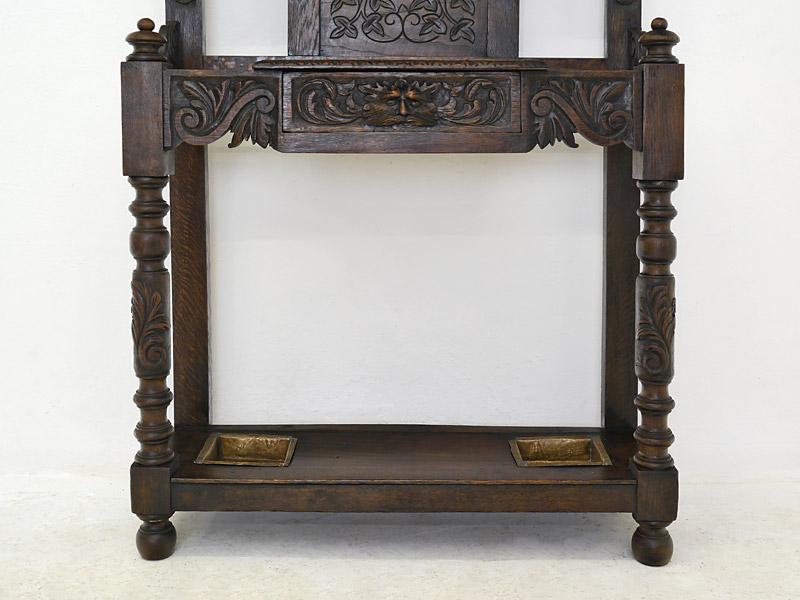 Garderobe Wandgarderobe Flurgarderobe Dielenmöbel Antik um 1880 Eiche (6325) – Bild 4