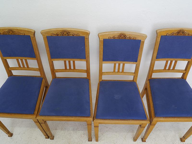 4 Stühle Lehnstühle Sitzmöbel Antik um 1940 Buche mit Sitzpolster (6338) – Bild 2