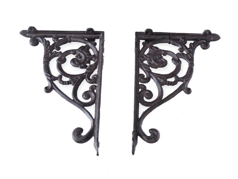 2 Regalwinkel Regalstützen Wandwinkel Antik Stil Gusseisen Bronze T: 22cm (6369) – Bild 1
