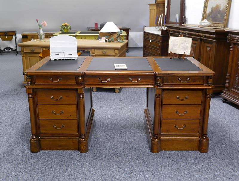 Schreibtisch Büroschreibtisch Schreibmöbel massiv + Lederauflage B: 180cm (6381) – Bild 2