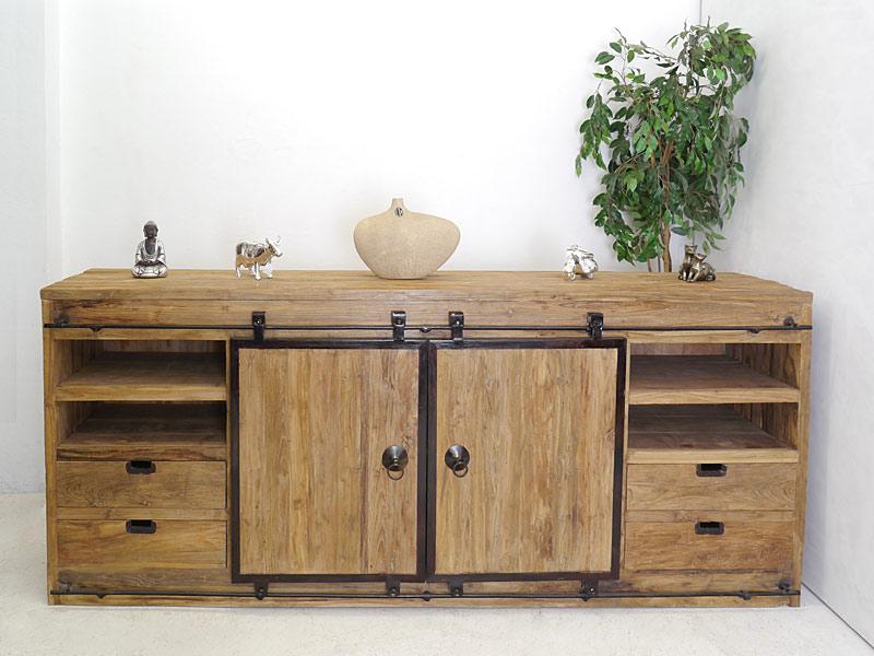 anrichte sideboard schrank im industrie style teakholz massiv b 250 cm 6391 kommoden und. Black Bedroom Furniture Sets. Home Design Ideas