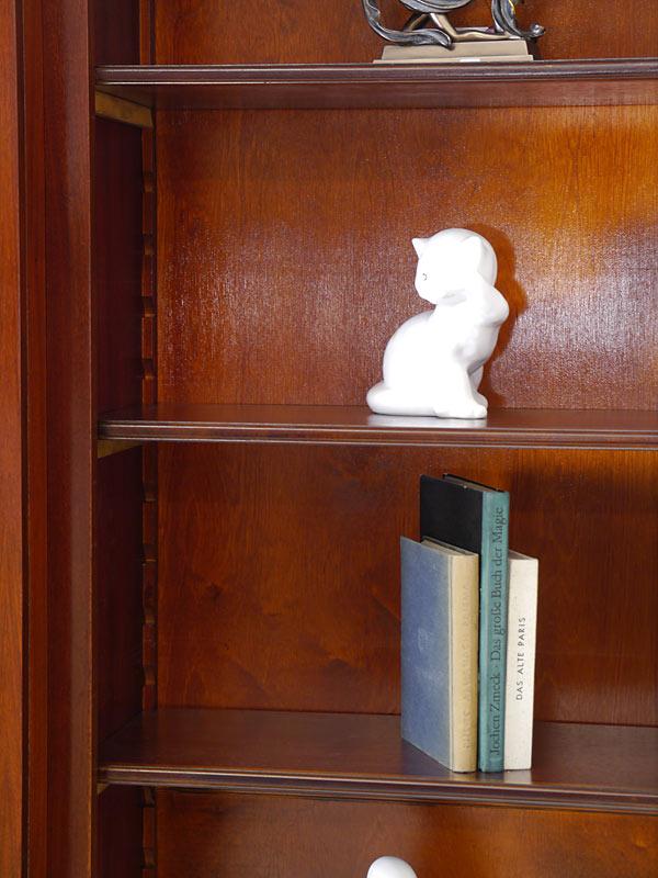 Regal Bücherregal Wandregal aus Mahagoni dreiteilig mit Intarsien (6416) – Bild 7