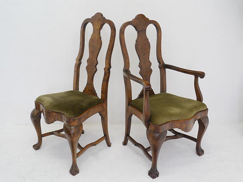 8 Stühle Stuhlgruppe Esszimmerstühle Antik um 1880 Nussbaum mit Polster (6454) – Bild 5