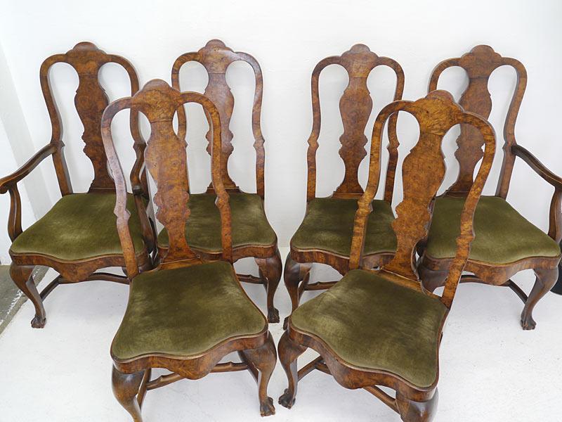8 Stühle Stuhlgruppe Esszimmerstühle Antik um 1880 Nussbaum mit Polster (6454) – Bild 2