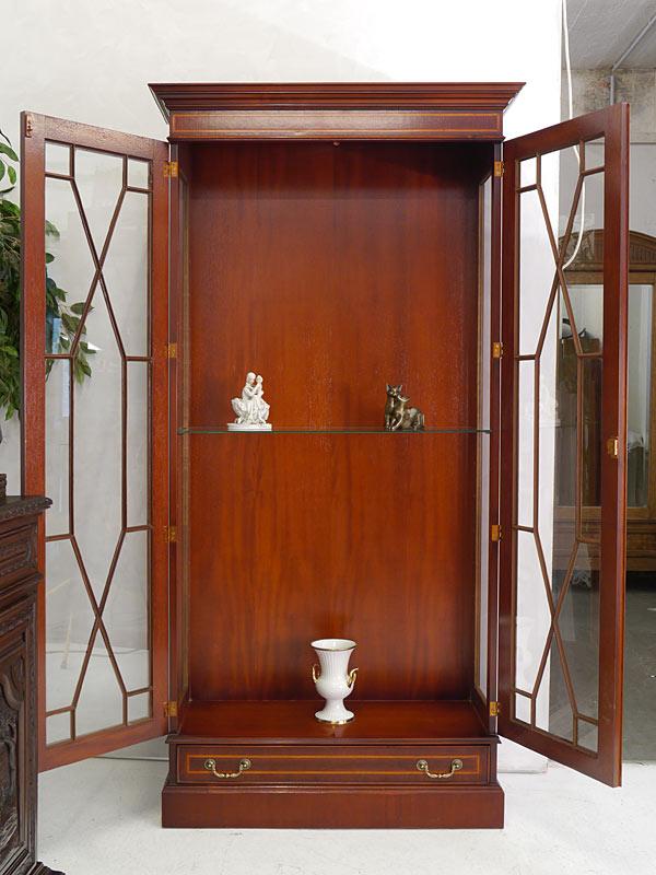 Vitrine Glasvitrine Vitrinenschrank englischer Stil Mahagoni + Intarsien (6459) – Bild 2
