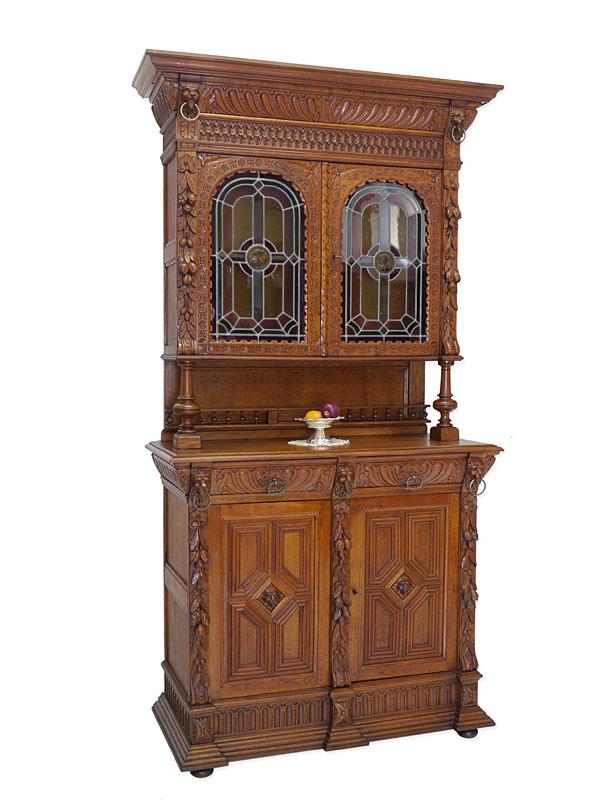 Buffet Schrank Küchenschrank Gründerzeit um 1880 Eiche mit Bleiverglasung (6469) – Bild 1