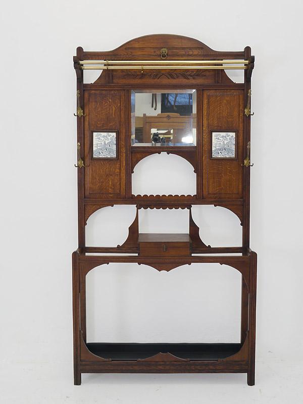 Garderobe Flurgarderobe Wandgarderobe um 1920 aus Eiche massiv B: 103 cm (6474) – Bild 2