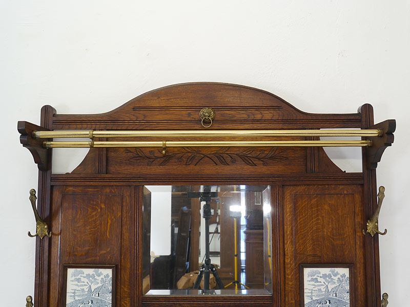 Garderobe Flurgarderobe Wandgarderobe um 1920 aus Eiche massiv B: 103 cm (6474) – Bild 3