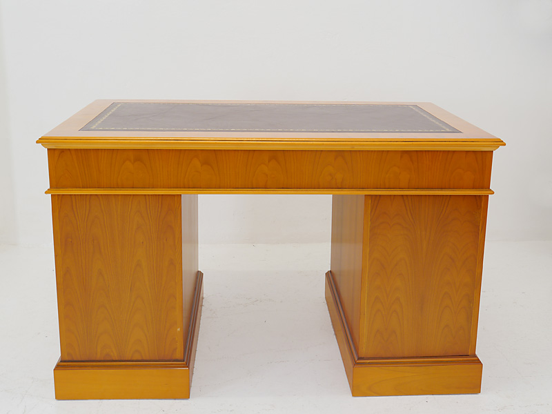 Schreibtisch Bürotisch Schreibmöbel englischer Stil Eibe Echtlederauflage (6483) – Bild 8